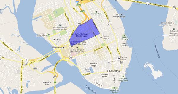 Cannonborough Elliotborough Neighborhood Map Charleston South Carolina